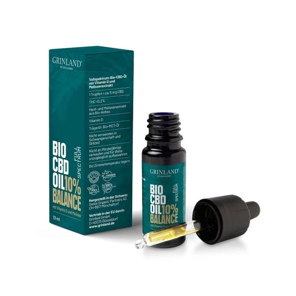 BALANCE - Vollspektrum-Bio-CBD-Öl mit Vitamin D und Melissenextrakt - CBD / 1.000 mg / 10% (THC <0,2